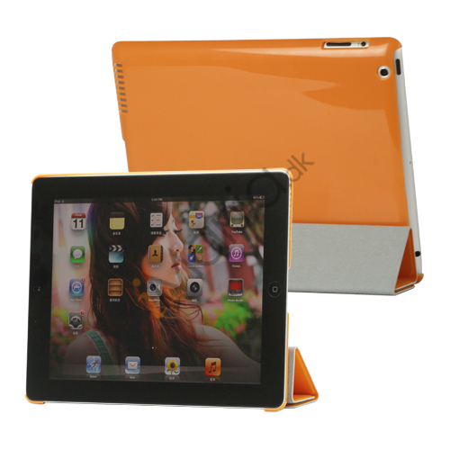 Image of   Folio Magnetisk PU Kunstlæder Taske Smart Cover til iPad 4. 3. 2nd Generation - Orange
