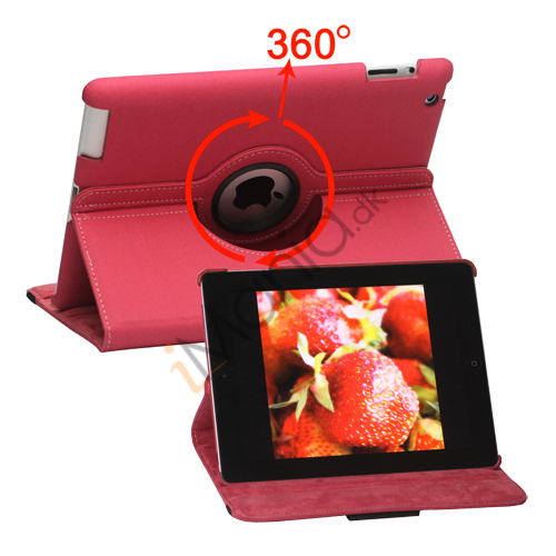 Image of   Drejes 360 grader, Folio Canvas Stand Case med Stylus til iPad 2. 3. 4. Generation - Rose