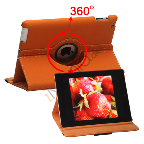 Billede af Drejes 360 grader, Folio Canvas Stand Case med Stylus til iPad 2. 3. 4. Generation - Orange