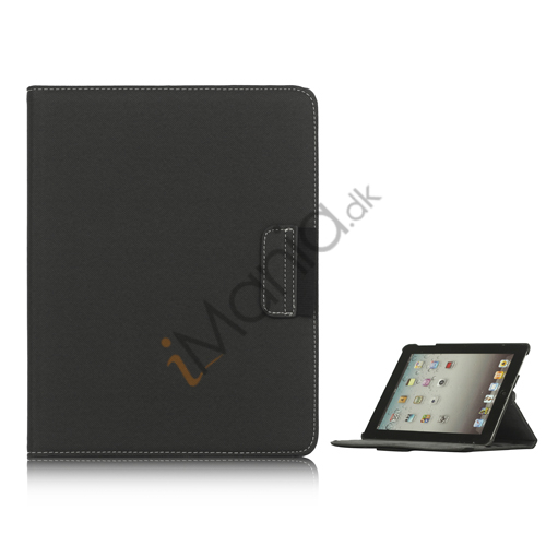 Drejes 360 grader, Folio Canvas Stand Case med Stylus til iPad 2. 3. 4. Generation - Mørkegrå