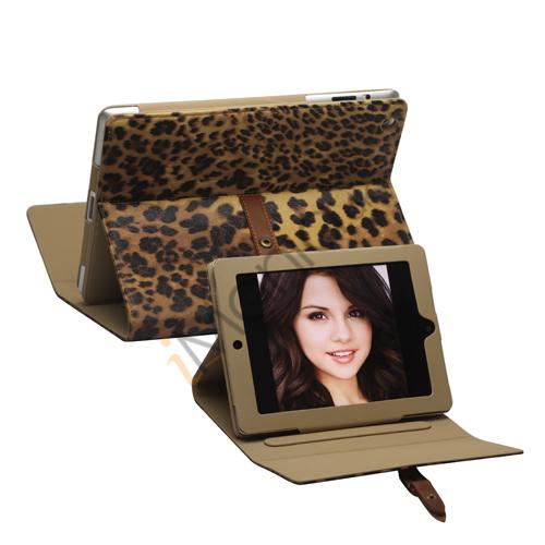 Leopard Kunstlæder Taske Stand med bælte og Spænde til iPad 2. 3. 4. Gen - Brun