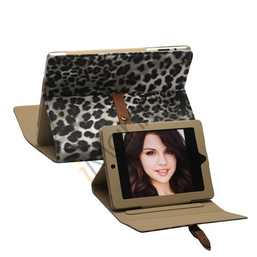 Leopard Kunstlæder Taske Stand med bælte og Spænde til iPad 2. 3. 4. Gen - Grå