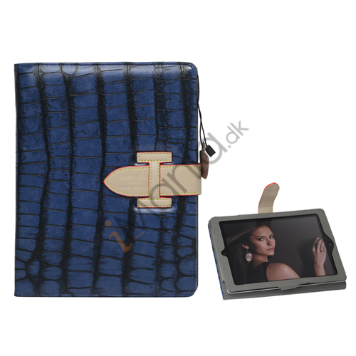 Hermes Folio Style Krokodille Kunstlæder Taske Cover Holder til iPad 2. 3. 4. Generation - Mørkeblå