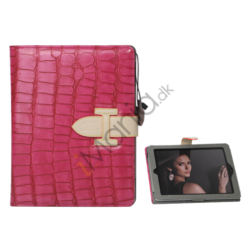 Image of   Hermes Folio Style Krokodille Kunstlæder Taske Cover Holder til iPad 2. 3. 4. Generation - Rose