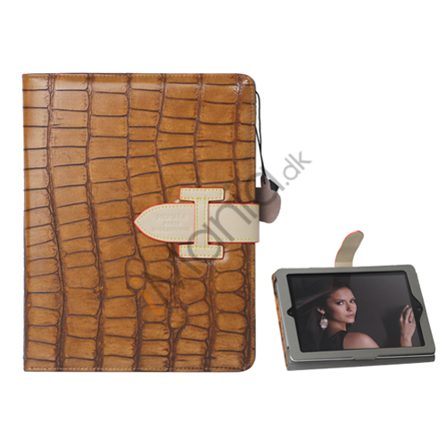 Image of   Hermes Folio Style Krokodille Kunstlæder Taske Cover Holder til iPad 2. 3. 4. Generation - Brown