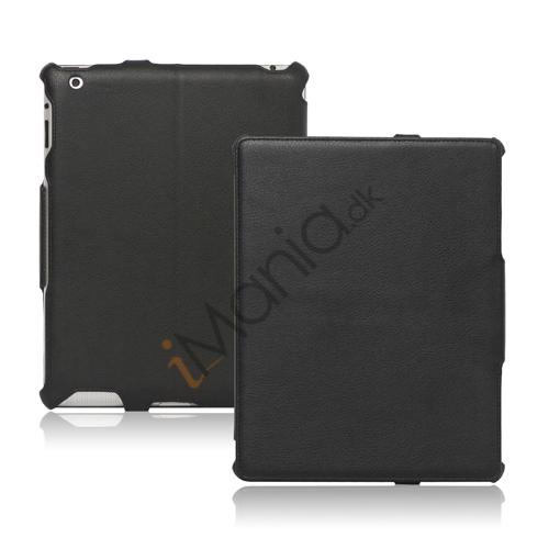Slim Lychee PU Kunstlæder Case Cover til iPad 2. 3. 4. Gen - Sort