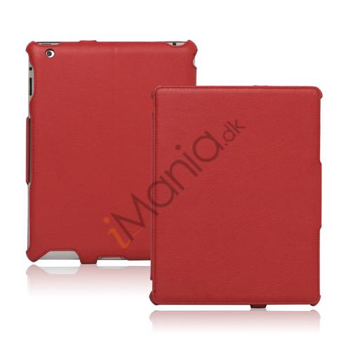 Slim Lychee PU Kunstlæder Case Cover til iPad 2. 3. 4. Gen - Rød