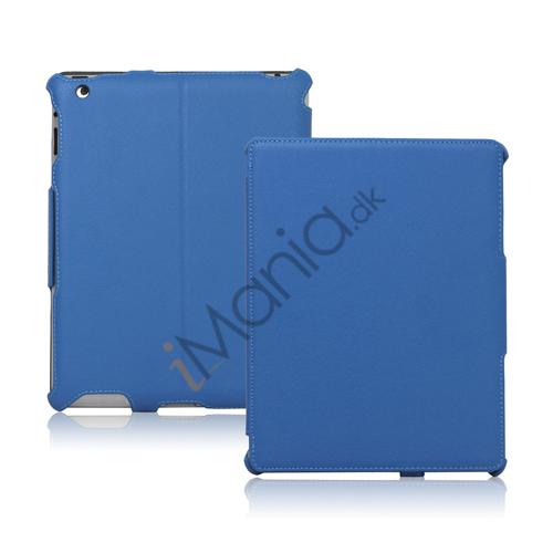 Slim Lychee PU Kunstlæder Case Cover til iPad 2. 3. 4. Gen - Blå
