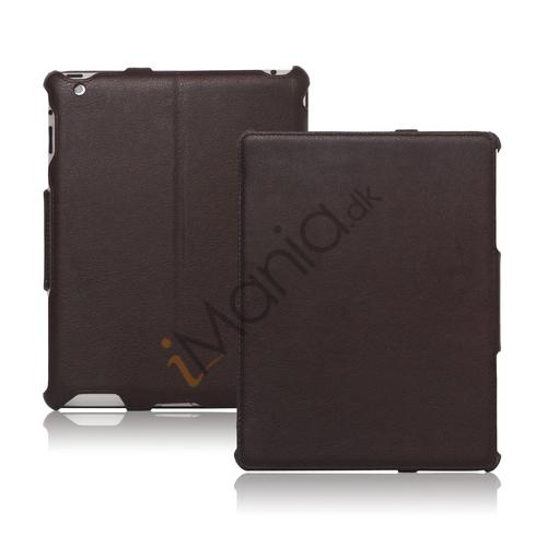 Slim Lychee PU Kunstlæder Case Cover til iPad 2. 3. 4. Gen - Kaffe