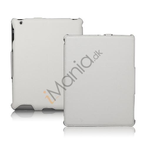 Slim Lychee PU Kunstlæder Case Cover til iPad 2. 3. 4. Gen - Hvid