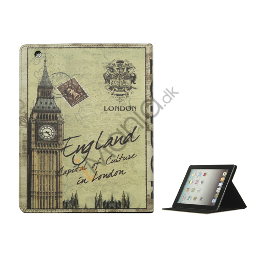 British Style Big Ben PU Leather Smart Cover Holder til iPad 2. 3. 4. Gen