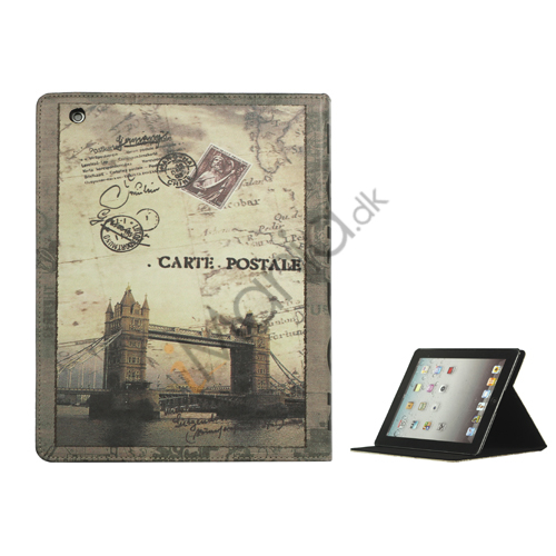Image of   iPad 2. 3. 4. Gen British Style London Tower Bridge Magnetisk Kunstlæder Taske med stativ