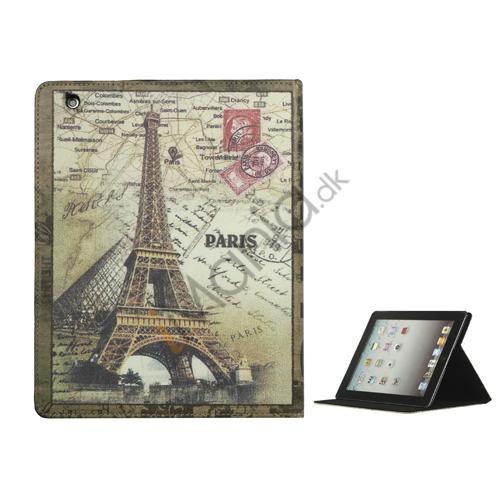 Retro Eiffeltårnet Stand Kunstlæder Smart Cover til iPad 2. 3. 4. Gen