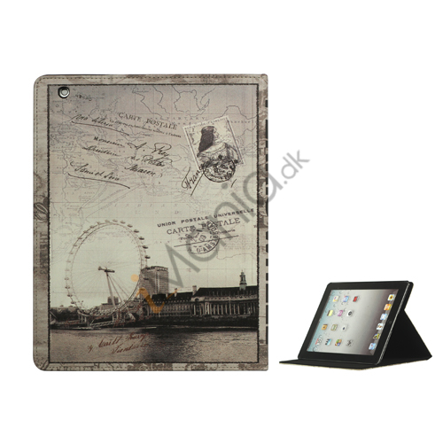 London Eye Ferris Wheel PU Leather Smart Cover med holder til iPad 2. 3. 4. Gen