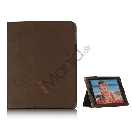 Image of   Folio PU Kunstlæder Cover Case med holder til iPad 4 3. 2nd Generation - Brun