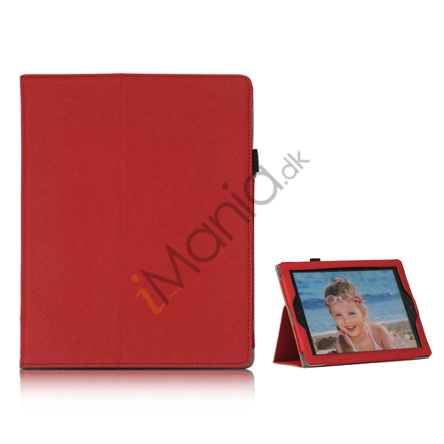 Image of   Folio PU Kunstlæder Cover Case med holder til iPad 4 3. 2nd Generation - Rød
