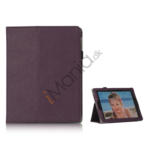 Image of   Folio PU Kunstlæder Cover Case med holder til iPad 4 3. 2nd Generation - Lilla