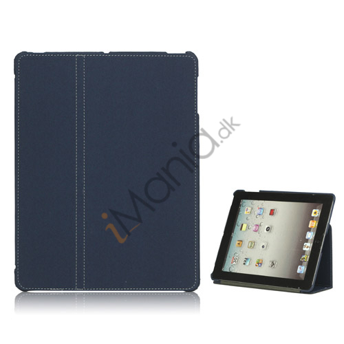 Premium Canvas Folio Case Holder til iPad 2 3 4 - Mørkeblå