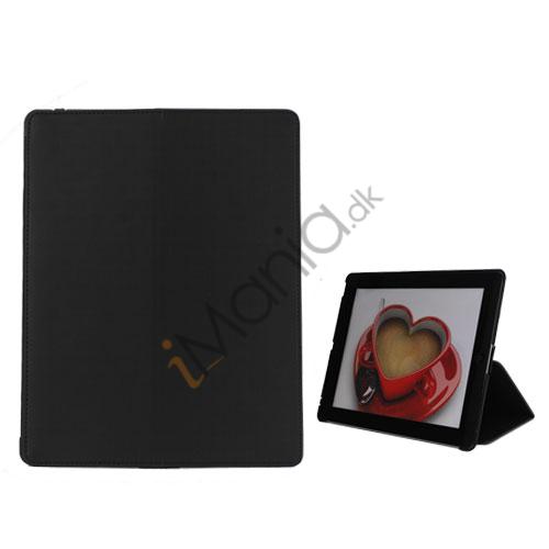 Premium Folio KunstKunstlæder Case med bælte Stand støvtæt Plug Etc til den nye iPad 3:e 2nd Gen - Sort