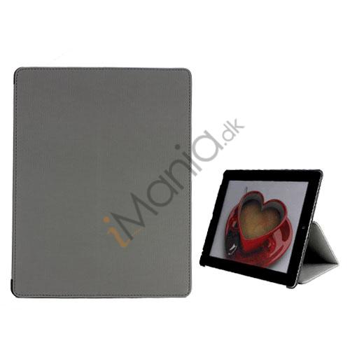 Premium Folio KunstKunstlæder Case med bælte Stand støvtæt Plug Etc til den nye iPad 3:e 2nd Gen - Grå