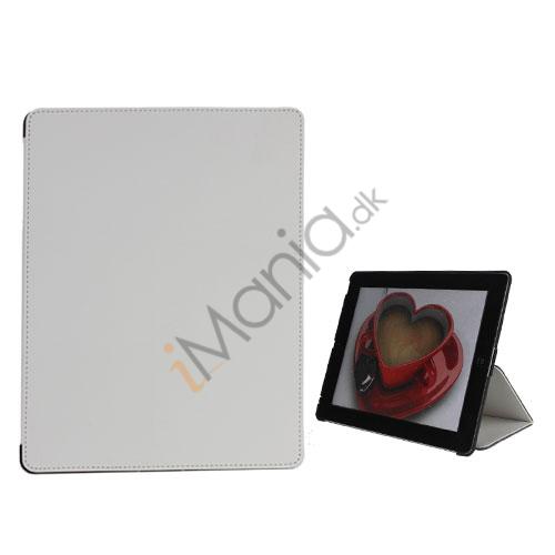 Premium Folio KunstKunstlæder Case med bælte Stand støvtæt Plug Etc til den nye iPad 3:e 2nd Gen - Hvid