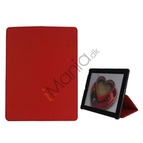 Premium Folio KunstKunstlæder Case med bælte Stand støvtæt Plug Etc til den nye iPad 3:e 2nd Gen-Red