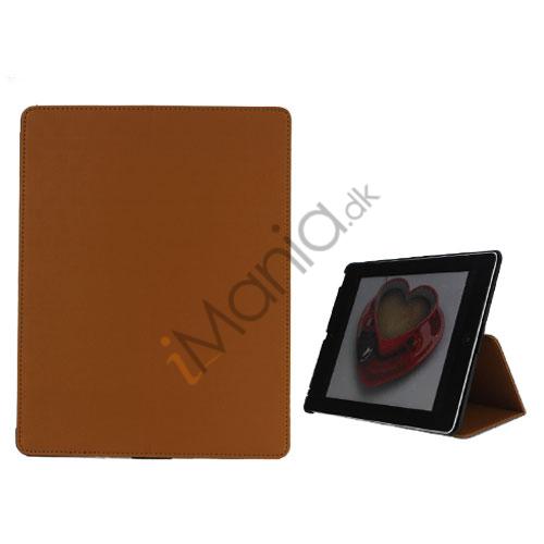 Premium Folio KunstKunstlæder Case med bælte Stand Dust Proof Plug Etc til iPad 3:e 2nd Gen - Brun
