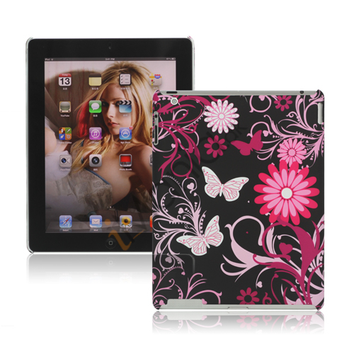 Image of   Butterfly Blomster Hard Cover Case til Den Nye iPad 2. 3. 4. Gen