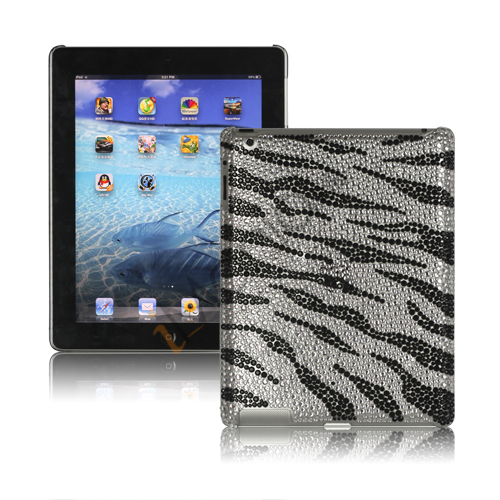 Image of   Sparkling Rinestone Zebra Cover Case til den nye iPad - Sort