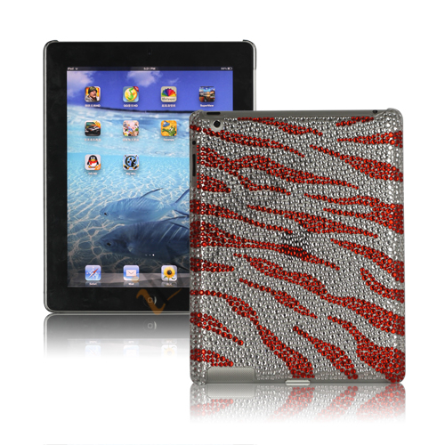 Image of   Sparkling Rinestone Zebra Cover Case til den nye iPad - Rød