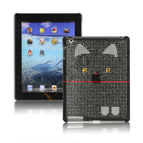 Image of   Indtagende Kutusitanyanko Cat Diamante Taske til den nye iPad 3rd gen - Sort