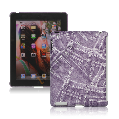 Image of   Retro Jeans Kunstlæder Hard Case til iPad 2. 3. 4. Gen Smart Cover Companion - Lilla