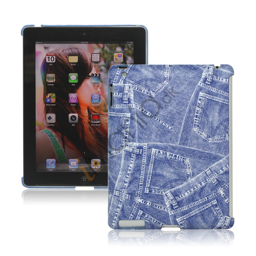 Image of   Retro Jeans Kunstlæder Hard Case til iPad 2. 3. 4. Gen Smart Cover Companion - Blå