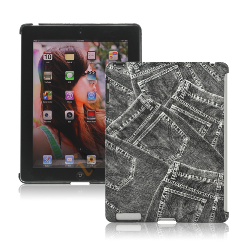 Image of   Retro Jeans Kunstlæder Hard Case til iPad 2. 3. 4. Gen Smart Cover Companion - Sort