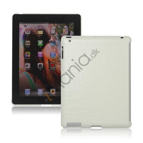 Image of   Krokodille Kunstlæder Skin hård plast tilfældet til nye iPad 2 3 4 Smart Cover Companion - Hvid