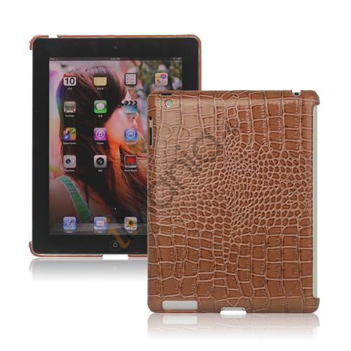Image of   Krokodille Kunstlæder Skin hård plast Case til iPad 2 Den nye iPad 3rd Generation - Brun
