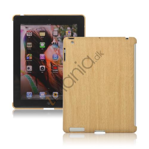 Træ Style Kunstlæder Coated Plastic Cover til iPad 2 den nye iPad 3rd gen - Light Brown