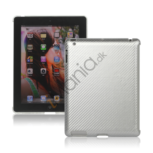 Image of   Carbon Fiber Kunstlæder Hard Case Smart Cover Companion til iPad 2 3 4 - Grå