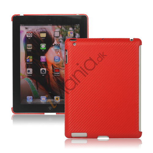 Carbon Fiber Kunstlæder Hard Case Smart Cover Companion til iPad 2 3 4 - Rød