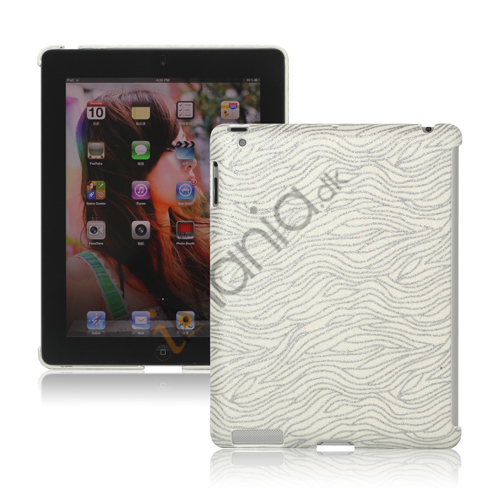 Flash Powder Zebra Smart Cover Companion Case til iPad 2. 3. 4. Gen - Hvid