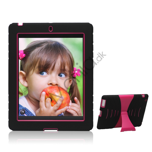 Image of   Snap-on Defender Case Cover med stativ til Den Nye iPad 2. 3. 4. Gen - Rose / Black