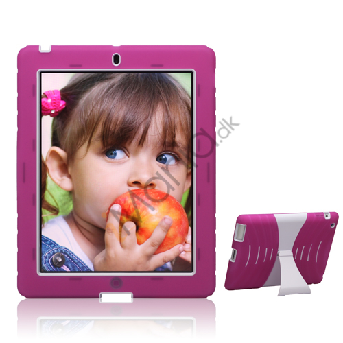 Image of   Snap-on Defender Case Cover med holder til iPad 4. 3. 2nd Gen - Hvid / Rose
