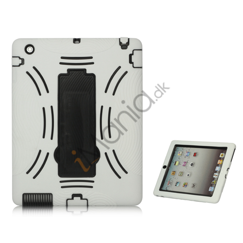 Image of   Snap-on Defender Case Cover med holder til iPad 2 den nye iPad - Sort / Hvid