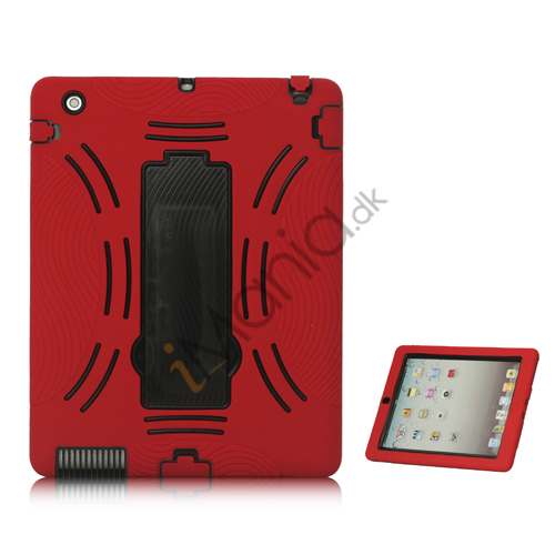 Image of   Snap-on Defender Case Cover med holder til iPad 2 den nye iPad - Sort / Rød