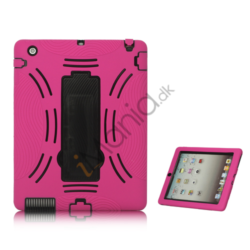 Image of   Snap-on Defender Case Cover med holder til iPad 2 den nye iPad - Sort / Rose