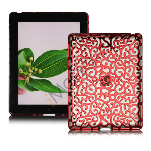 Metalbelagt Hollow Flower Hard Case Cover til iPad 2 3 4 - Rød