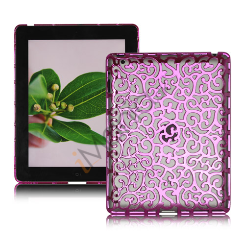 Metalbelagt Hollow Flower Hard Case Cover til iPad 2 3 4 - Lilla
