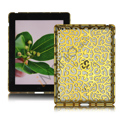 Image of   Metalbelagt Hollow Flower Hard Case Cover til iPad 2 3 4 - Guld