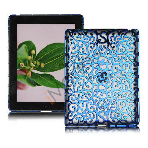 Image of   Metalbelagt Hollow Flower Hard Case Cover til iPad 2 3 4 - Blå