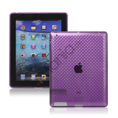 Billede af Stilfuld Diamond TPU Skin Cover Case til den nye iPad 3rd gen - Lilla